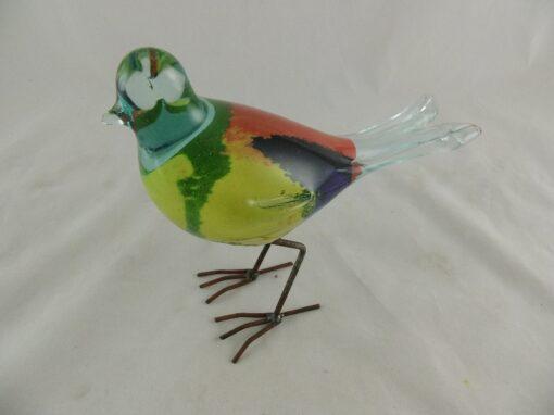 Vogel glas gekleurd op poten 19cmLx18cmH
