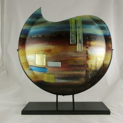 """Vaas glas maanvorm gekleurd """"Desert"""" in standaard 48cmH"""