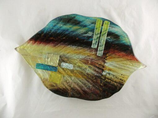 "Schaal glas gekleurd bladvorm ""Desert"" 35cmBx57cmL"