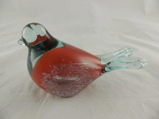 Vogel glas rood/wit 13x8.5cmH