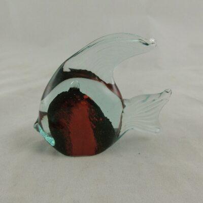 Maanvis glas rood/zwart 7.5x6.5cmH