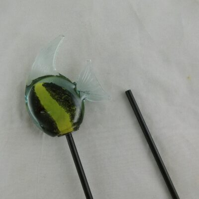 Maanvis glas zwart/geel tuinsteker 8x8cmH