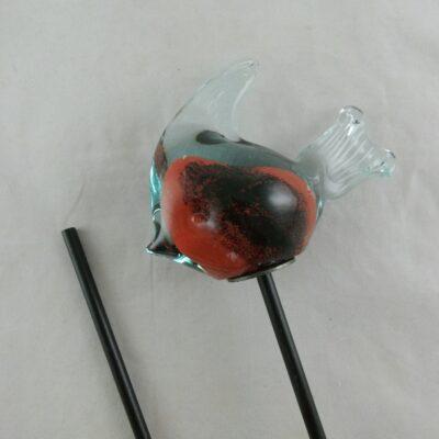 Maanvis glas zwart/rood tuinsteker 9x9cmH