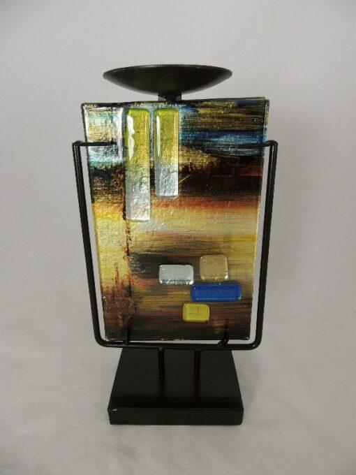 """Kandelaar glas gekleurd """"Desert"""" 14x13x24cmH"""