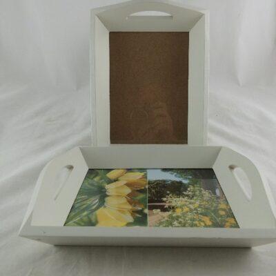 Dienblad hout met fotolijstje 25.5x18.5cm