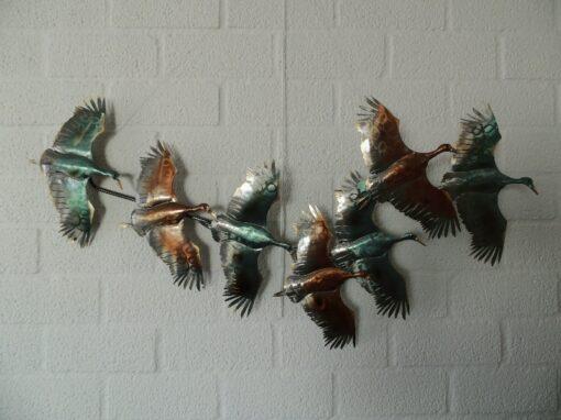 Wanddecoratie metaal eenden vliegend 93x47cmH