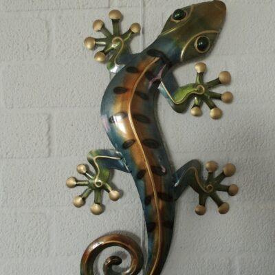 Wanddecoratie metaal gekko 32x55cmH