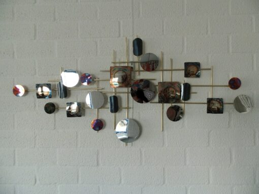 Wanddecoratie metaal modern cirkels 119x56cmH