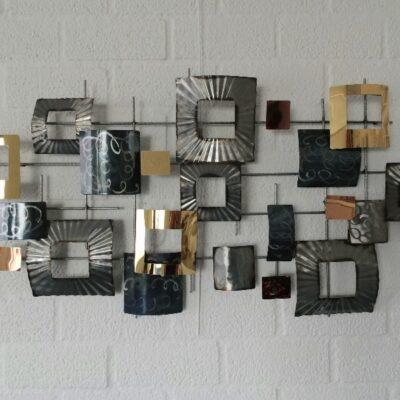 Wanddecoratie metaal modern grijs/goud 100x50cmH