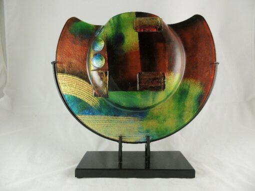 Vaas glas Artwork in standaard halfrond Ø37cm
