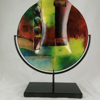 Vaas glas rond Artwork in standaard Ø30cmx39cmH