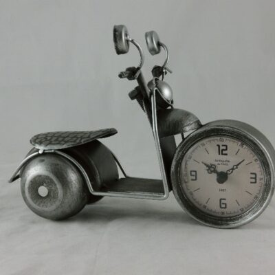 Klok motorfiets zilverkleur 22cmLx16cmH