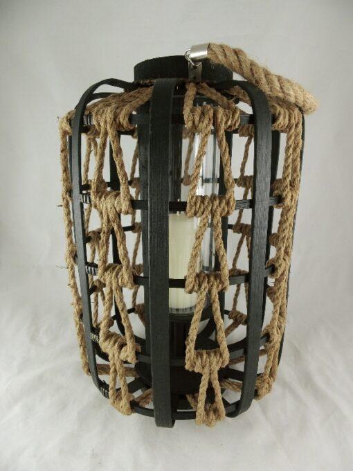 Lantaarn hout met touw Ø30cmx44cmH