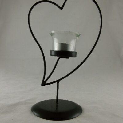 Kandelaar metaal hartje met glas 15x23.5cmH