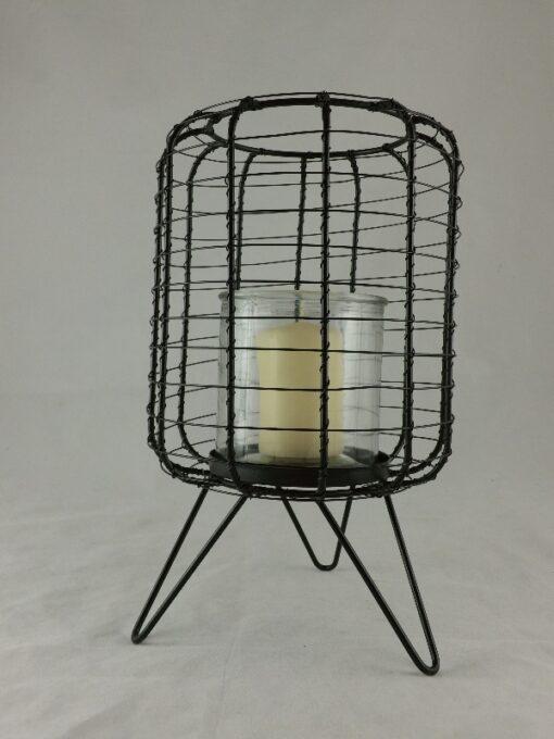 Sfeerlicht metaal met glas Ø17cmx28cmH
