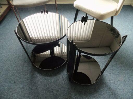 Salontafeltje zwart set 2-dlg Ø45x44cmH, Ø36x52cmH