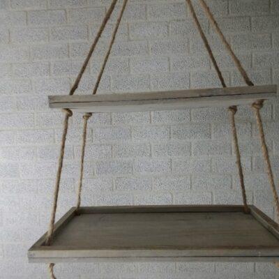 Houten etagère hangend greywash 30x60, 25x50