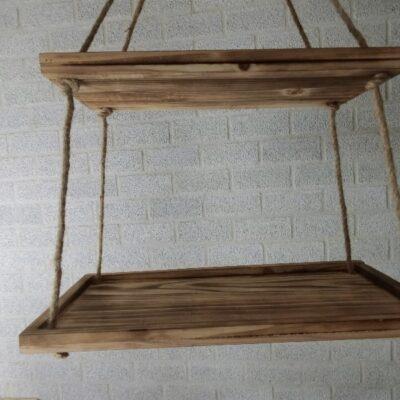 Houten etagère hangend rond naturel 30x60, 25x50