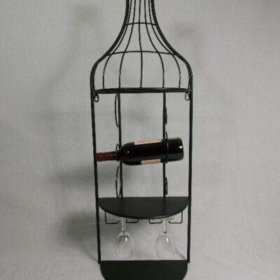 Wandwijnrek voor 3 flessen en glazen 33x95cmH