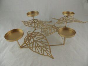 Kandelaar goudkleur voor 4 kaarsen 50x35x15cmH