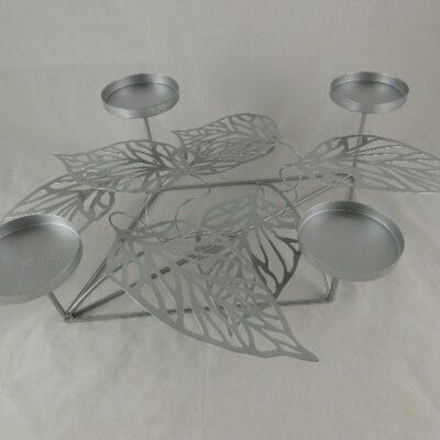 Kandelaar zilverkleur voor 4 kaarsen 50x35x15cmH
