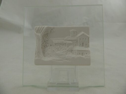 Dorpszicht op glas 11x11cm