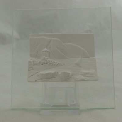 Havenzicht op glas 11x11cm
