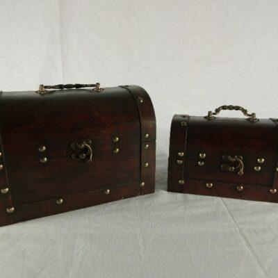Kisten set 2-delig ronde bovenkant 24x16x17cmH 19x10 5x12cmH