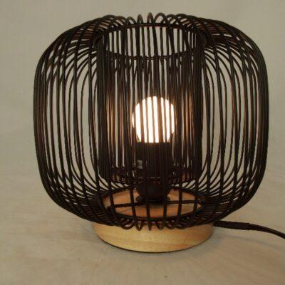 Tafellamp metaal/hout Ø21cmx18cmH