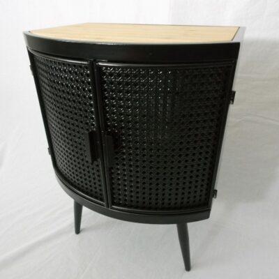 Kastje metaal/hout halfrond 50x38x70cmH