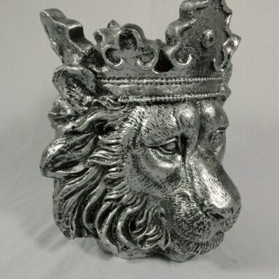 Plantenbak leeuw zilverkleur 42cmH