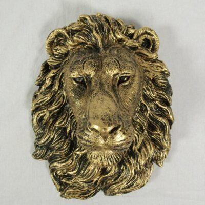 Wanddecoratie leeuw goudkleur 32x40cmH