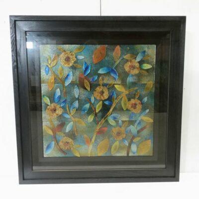 Wanddecoratie glas in zwarte kast 100x100cm