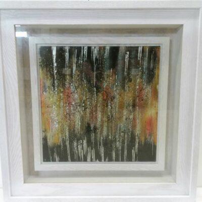Wanddecoratie glas in witte kast 80x80cm