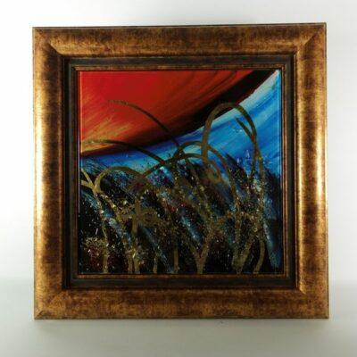 Wanddecoratie glas met goudkleur lijst 44x44cm