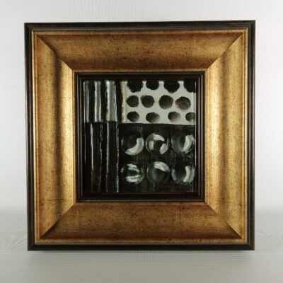 Wanddecoratie glas met antiek goudkleur lijst 29.5x29.5cm