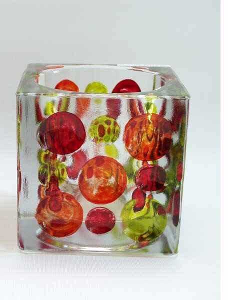Sfeerlicht glas Dots groot rood/oranje/groen 9.5cmH
