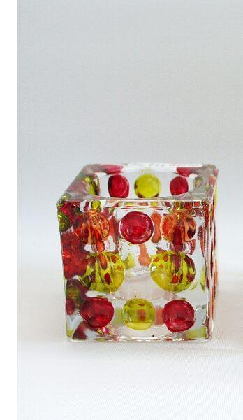 Sfeerlicht glas Dots klein rood/oranje/groen 6cmH