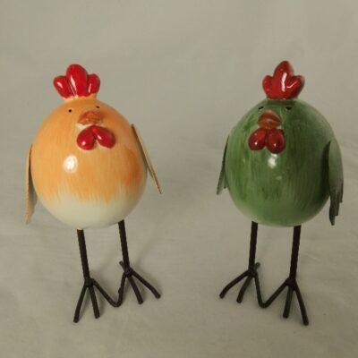 Kip en Haan staand geel/groen 12cmH