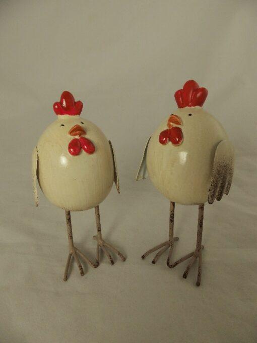 Kip en Haan staand cremekleur 12cmH