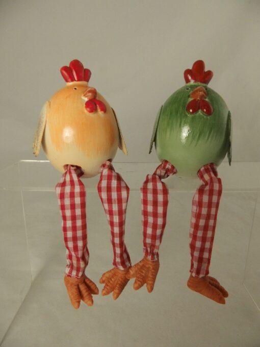 Kip en Haan over rand geel/groen 8cmH