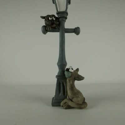 Lantaarn met uil en kat 21cmH