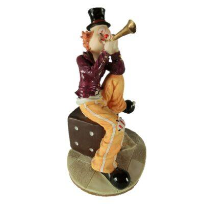 Clown met fluit op dobbelsteen 21cmH
