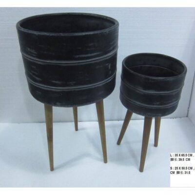 Plantenbak stel metaal/hout Ø35x65cmH,Ø25x50cmH