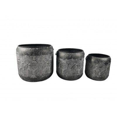 Plantenbak metaal grijs set Ø39.5, Ø32, Ø25cm