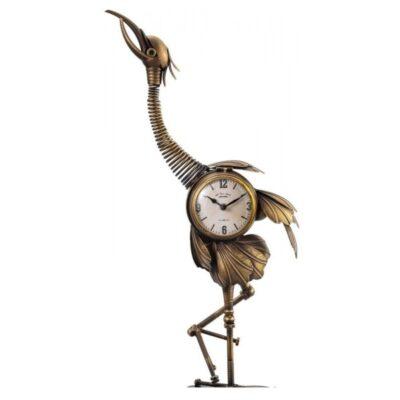 Kraanvogel klok brons 34x78cmH