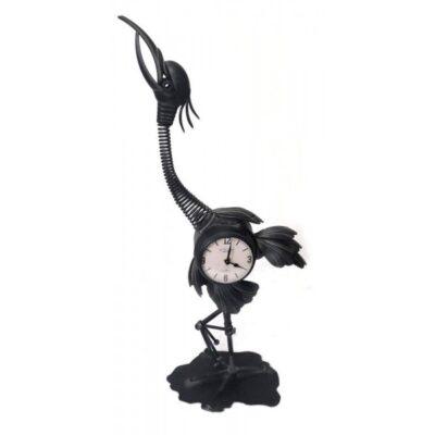 Kraanvogel klok zwart 34x78cmH