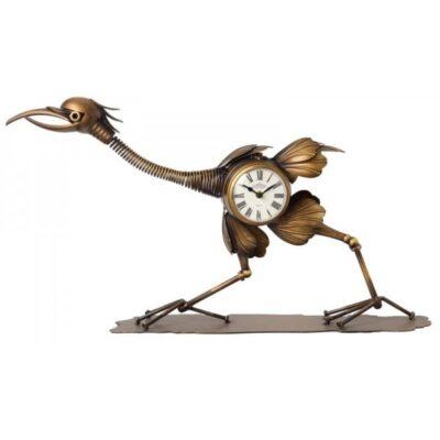 Kraanvogel klok brons 76cmLx43cmH