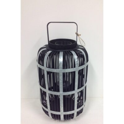 Wooden lantern black 30x30x62cmH