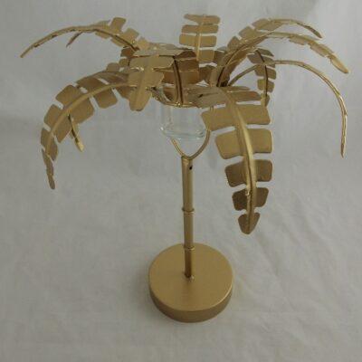 Palmboom goud waxinelichthouder Ø29x36cmH
